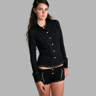 Black / Pink Trim Sheer Western Lounge Top