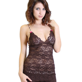Chocolate 3 Row Lace Camisole with Pink Cocoa Straps
