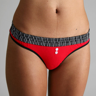 Black Stripe over Red Bstring (White Trim) Thong