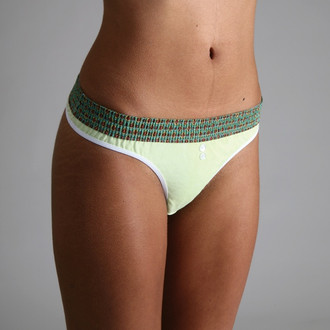 Green Madras over Lime Bstring Thong