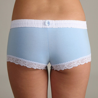White over Light Blue Boyshort