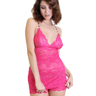Fuchsia 3 Row Lace Camisole with Pink Cocoa Straps