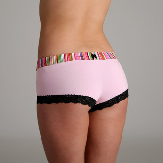 Pink & Green Stripe over Pink Boyshort