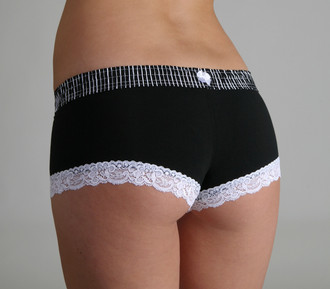 Black Stripe over Black Boyshort (White Trim)