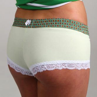 Green Madras over Lime Boyshort