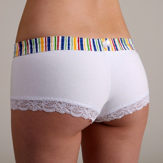 Rainbow Stripe over White Boyshort
