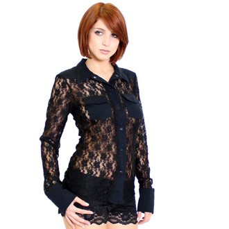 Black stretch lace soft to touch Western Style Top with cotton spandex soft fabric accents. You can wear this top without a bra or with. The pockets are located to give coverage when braless. Button front. Can be worn as lounge, lingerie, or outer wear. Great with jeans or black pants. Fits true to size. Our model Sarah Q is wearing a Small. I made the sleeves extra long for coziness.This also comes in ivory and great for bridal.