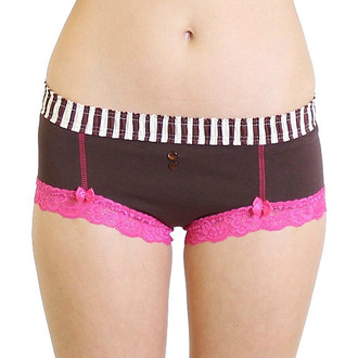 Brown Boyshort Panties with Pink Lace around the legs
