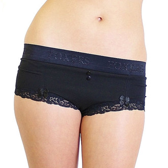 Black Boyshorts with Black FOXERS Logo Flat Waistband