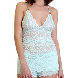 Hip Length Mint Lace Top with Mint/Gold Adjustable Straps