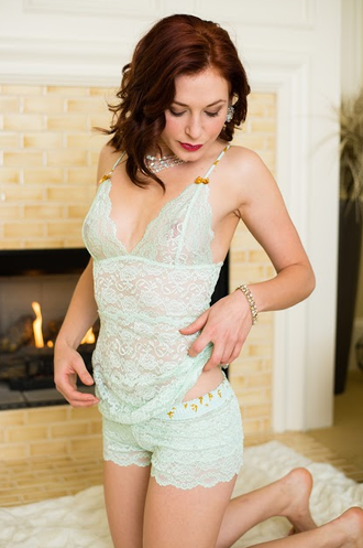 Mint Lace Top with Mint Gold Adjustable Straps 3 Row