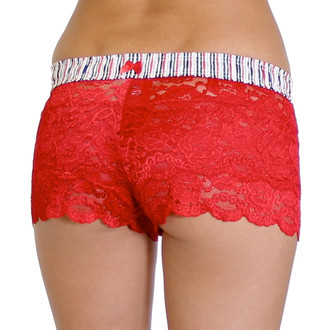 Red Lace Boxers with Navy, Red, Black, and Gray Stripe FOXERS Band