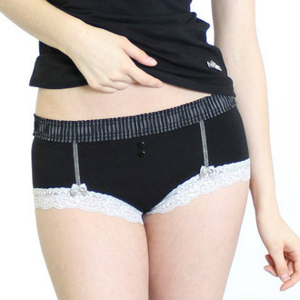 Black Boyshort with Pinstripe Band