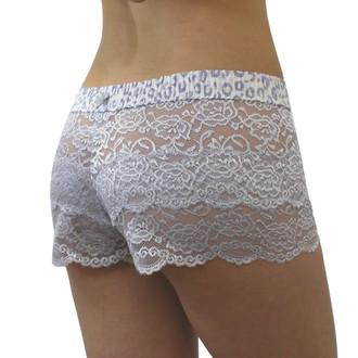 FOXERS Silver Lace Boxer with leopard print waistband