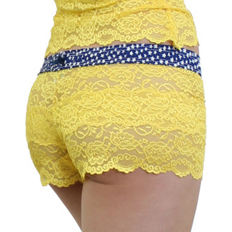 Yellow Lace Boxer Shorts with stars