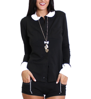 Black Equestrian Top with White Cuffs & Collar