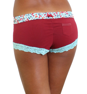 Cranberry Red Boyshort underwear with Fox print waistband