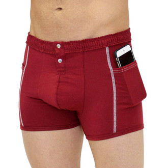 FOXERS Men's Cranberry Boxer Brief with Pockets