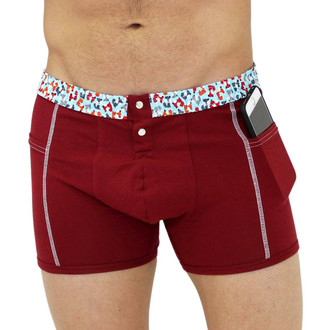 Mens cranberry red boxer brief with foxes
