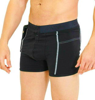 Men's Black Boxer Brief with Logo FOXERS Band (white stitching)