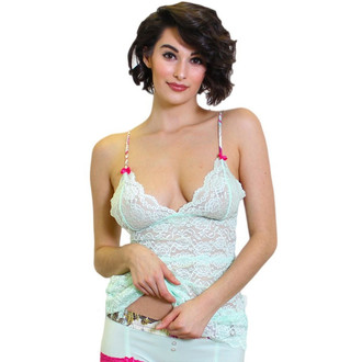 Mint 3 Row Lace Camisole with French Memoir Straps
