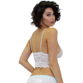 White Lace Cami Top with Aqua Rickrack Adjustable Straps | FOXERS
