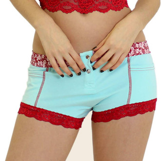 Women's Aqua Boxer Brief with Flower Power Waistband