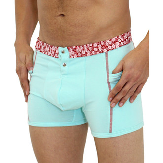 Aqua Blue Men's Boxer Brief with Flower Power Band