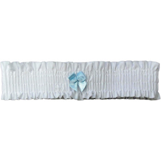 Pure White Leg Garter with Mint Blue Bow