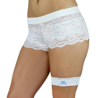White Leg Garter with Mint Blue Bow(One Size)
