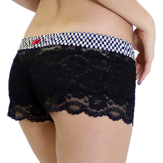 Women's Black Lace Boxers with Checkers FOXERS Band