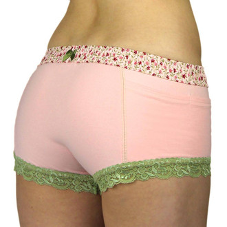Foxers Pink Posies Boxers Briefs with pockets and a bow in the back