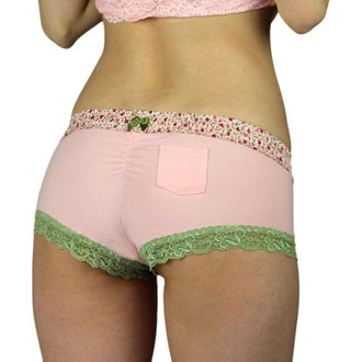 Pink Boyshorts Panties with Pink Posies Waistband