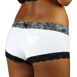 White Boyshorts with Black Lace Trim and Feather Print Waistband