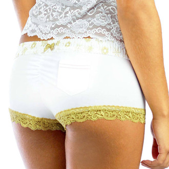 White Boyshorts Panties with Frozen Gold Waistband