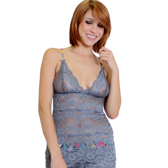Charcoal Gray Lace Top Hip Length Kaleidoscope Adjustable Straps