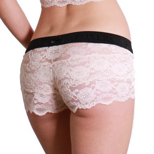 Blush Lace Boxer Black FOXERS Logo Band