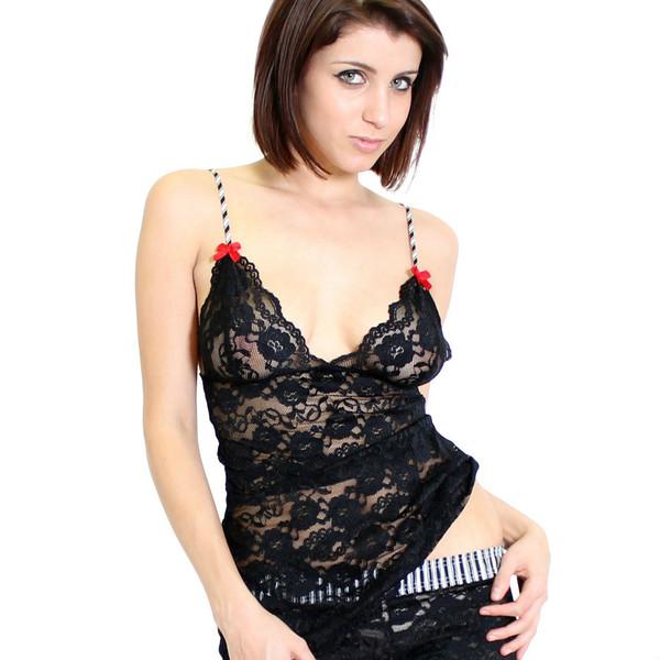 Black Lace Top Hip Length (Red Bows) Filmstrip Straps