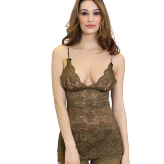 Olive Lace Hip Length Cami with Snakeskin Print Straps