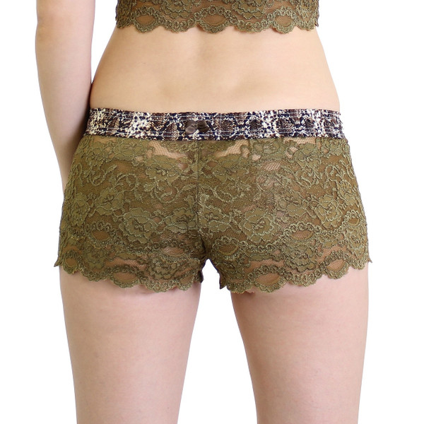 Snake Print / Olive Green Lace Boxer Briefs