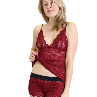 Cranberry Lace Hip Length Cami with Midnight Rose Straps