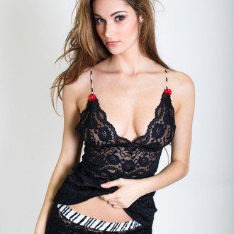 Black Lace Hip Length Camisole (Black Pearl Straps)