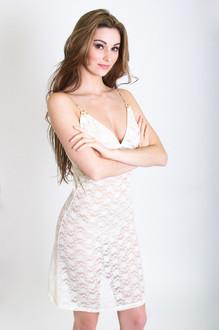 Ivory Lace Slip Chemise (Blushing Rose Straps)
