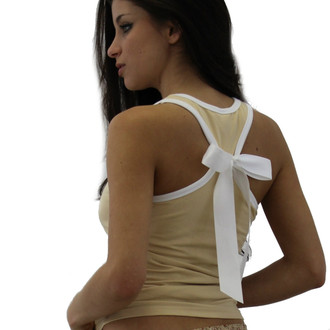 Mocha Racer Back Tank with White Trim and shelf bra