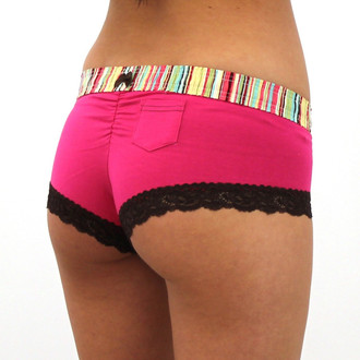 Aqua Rose over Fuchsia Boyshort