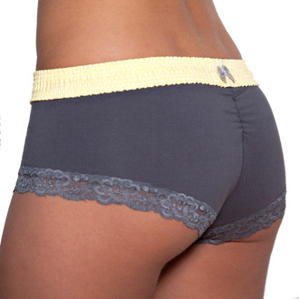 Charcoal Grey Boyshort with Yellow Waistband