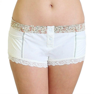 Womens Ivory Boxer Briefs with floral waistband