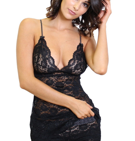 Black Lace Hip Length Camisole with Black Polkadot Straps