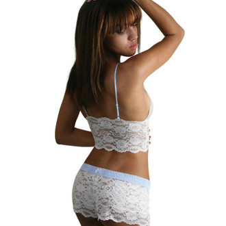 Ivory Lace Top with Light Blue Dot Straps