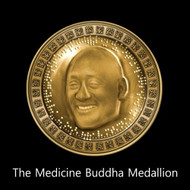 The Medicine Buddha Medallion        The New Medicine Buddha Medallion is a type of Divine currency. It is keyed to the world of the Medicine Buddha. During an early incarnation on earth, The Medicine Buddha noted the suffering of humans in its varied forms. The light generated by the medallion is real and may be spent like money on your spiritual and material needs.   There is no practical limit to the amount of light that may be drawn from the medallion.  After his enlightenment, The Medicine Buddha gained the power to create worlds through thought alone. These worlds stored healing energy that allowed humans to escape the lower illusionary worlds of suffering and incarnate on celestial immortal worlds of light.  The medallion is connected to the main world of light ruled by the Buddha. Using this light in the proper way, you may focus it on healing things....your health, relationships, bank account, growth of your soul. Each soul recognizes its divine presence and connection while wearing it. That presence and connection triggers a download of Khaturjan forces that lift you up onto the wall of blessing, and away from the wall of suffering. Each soul that wears the medallion is considered a Khaturjan and may tap into its power freely.    Price: $400.00